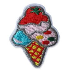 TRIPLE SCOOP ICE CREAM MOTIF IRON ON EMBROIDERED PATCH APPLIQUE